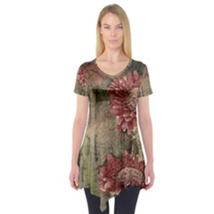 Flowers Plant Red Drawing Art Short Sleeve Tunic