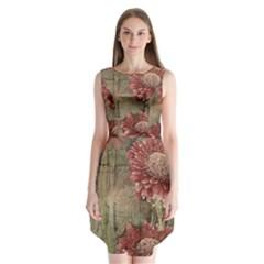 Flowers Plant Red Drawing Art Sleeveless Chiffon Dress