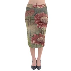 Flowers Plant Red Drawing Art Midi Pencil Skirt