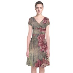 Flowers Plant Red Drawing Art Short Sleeve Front Wrap Dress