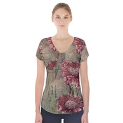 Flowers Plant Red Drawing Art Short Sleeve Front Detail Top