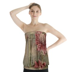 Flowers Plant Red Drawing Art Strapless Top