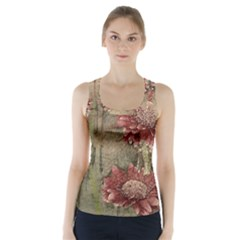 Flowers Plant Red Drawing Art Racer Back Sports Top