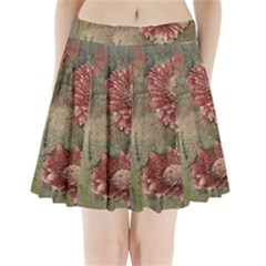Flowers Plant Red Drawing Art Pleated Mini Skirt