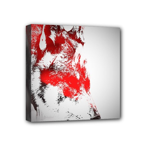 Red Black Wolf Stamp Background Mini Canvas 4  x 4