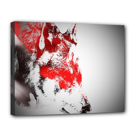 Red Black Wolf Stamp Background Canvas 14  X 11