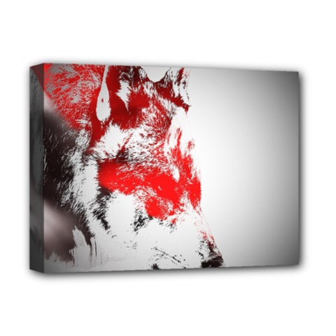 Red Black Wolf Stamp Background Deluxe Canvas 16  X 12
