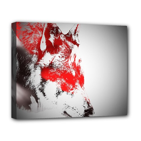 Red Black Wolf Stamp Background Deluxe Canvas 20  X 16