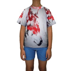 Red Black Wolf Stamp Background Kids  Short Sleeve Swimwear