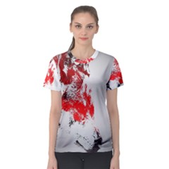 Red Black Wolf Stamp Background Women s Sport Mesh Tee