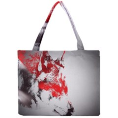 Red Black Wolf Stamp Background Mini Tote Bag