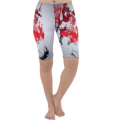 Red Black Wolf Stamp Background Cropped Leggings