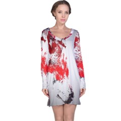 Red Black Wolf Stamp Background Long Sleeve Nightdress