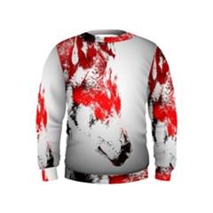 Red Black Wolf Stamp Background Kids  Sweatshirt