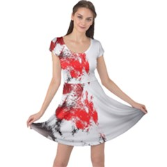 Red Black Wolf Stamp Background Cap Sleeve Dresses