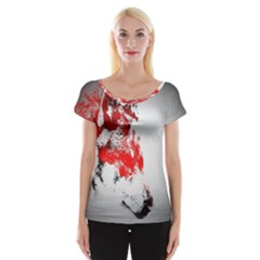 Red Black Wolf Stamp Background Women s Cap Sleeve Top