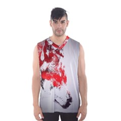 Red Black Wolf Stamp Background Men s Basketball Tank Top