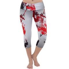 Red Black Wolf Stamp Background Capri Yoga Leggings