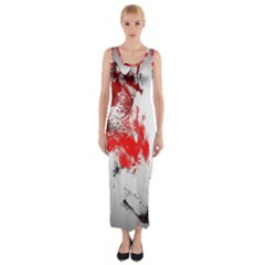 Red Black Wolf Stamp Background Fitted Maxi Dress