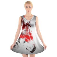 Red Black Wolf Stamp Background V Neck Sleeveless Skater Dress