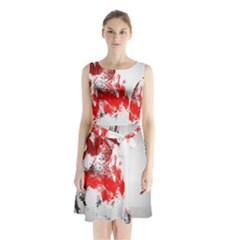 Red Black Wolf Stamp Background Sleeveless Waist Tie Chiffon Dress