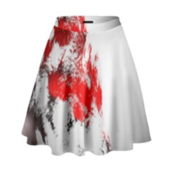 Red Black Wolf Stamp Background High Waist Skirt