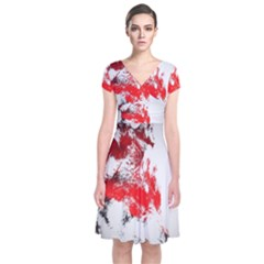 Red Black Wolf Stamp Background Short Sleeve Front Wrap Dress