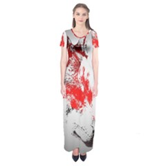 Red Black Wolf Stamp Background Short Sleeve Maxi Dress