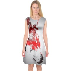 Red Black Wolf Stamp Background Capsleeve Midi Dress