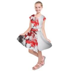 Red Black Wolf Stamp Background Kids  Short Sleeve Dress