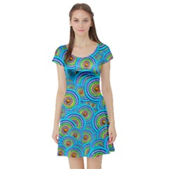 Digital Art Circle About Colorful Short Sleeve Skater Dress