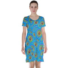 Digital Art Circle About Colorful Short Sleeve Nightdress