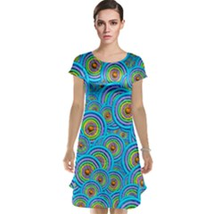 Digital Art Circle About Colorful Cap Sleeve Nightdress