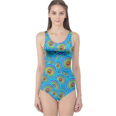 Digital Art Circle About Colorful One Piece Swimsuit
