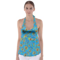 Digital Art Circle About Colorful Babydoll Tankini Top
