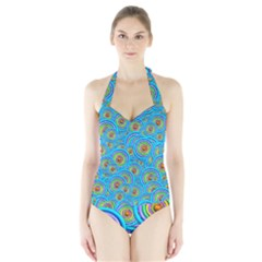 Digital Art Circle About Colorful Halter Swimsuit