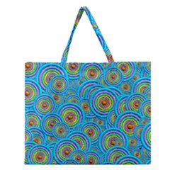 Digital Art Circle About Colorful Zipper Large Tote Bag