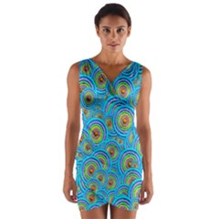 Digital Art Circle About Colorful Wrap Front Bodycon Dress
