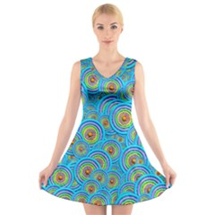 Digital Art Circle About Colorful V Neck Sleeveless Skater Dress