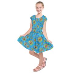 Digital Art Circle About Colorful Kids  Short Sleeve Dress