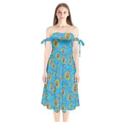 Digital Art Circle About Colorful Shoulder Tie Bardot Midi Dress