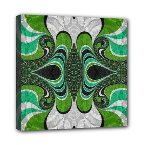 Fractal Art Green Pattern Design Mini Canvas 8  X 8