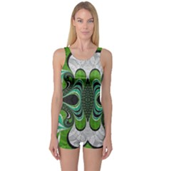 Fractal Art Green Pattern Design One Piece Boyleg Swimsuit