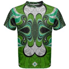 Fractal Art Green Pattern Design Men s Cotton Tee