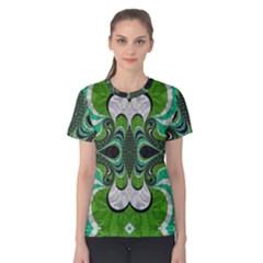 Fractal Art Green Pattern Design Women s Cotton Tee