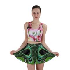 Fractal Art Green Pattern Design Mini Skirt