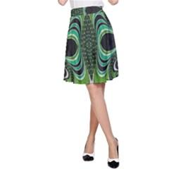 Fractal Art Green Pattern Design A-Line Skirt
