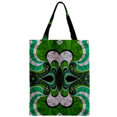Fractal Art Green Pattern Design Zipper Classic Tote Bag