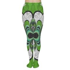Fractal Art Green Pattern Design Women s Tights