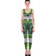 Fractal Art Green Pattern Design Onepiece Catsuit